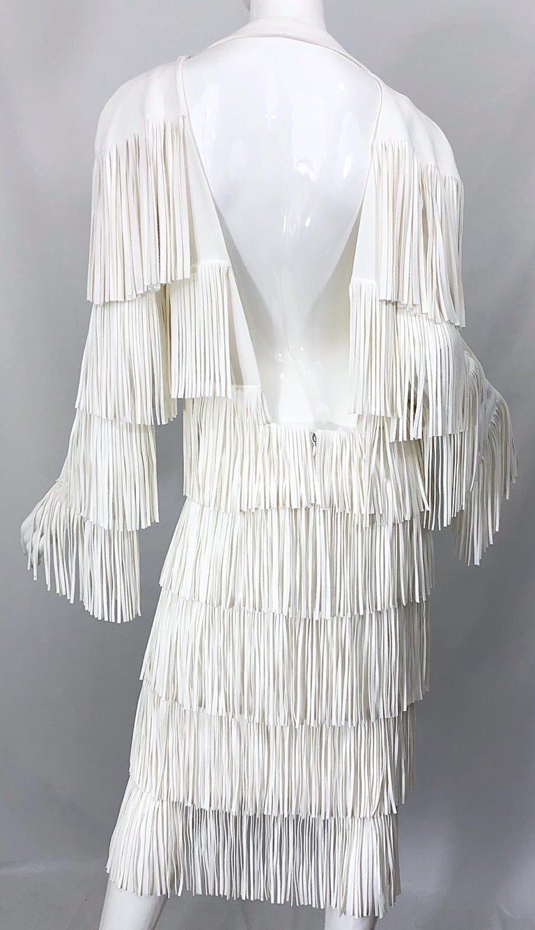 NWT Tom Ford $7,000 Runway Fall 2015 Size 42 / 8 White Open Back Fringe Dress For Sale 5