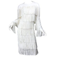 NWT Tom Ford $7,000 Runway Fall 2015 Size 42 / 8 White Open Back Fringe Dress
