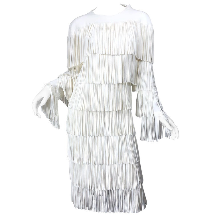 NWT Tom Ford $7,000 Runway Fall 2015 Size 42 / 8 White Open Back Fringe Dress For Sale