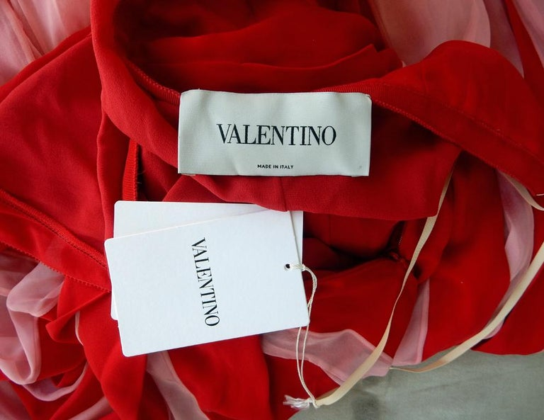 NWT Valentino Runway Red & Pink Evening Dress  For Sale 4