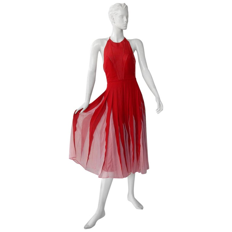 NWT Valentino Runway Red & Pink Evening Dress  For Sale