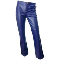 NWT Versace Vintage 1990s Purple Leather Sz 6 Eggplant Low Rise Flared Leg Pants