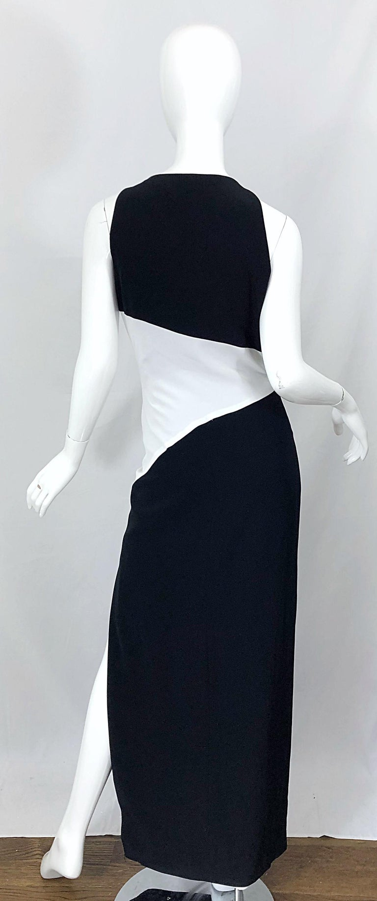 NWT Vintage Bob Mackie Size 8 Black and White Color Block Sleeveless Gown Dress For Sale 7