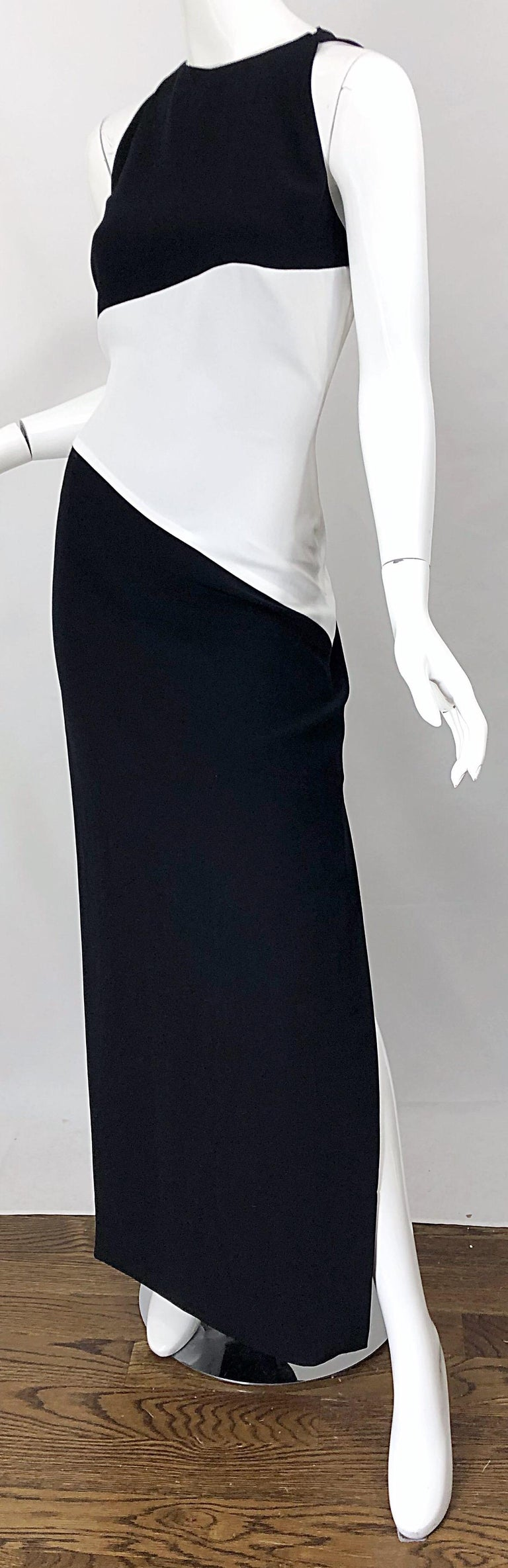 NWT Vintage Bob Mackie Size 8 Black and White Color Block Sleeveless Gown Dress For Sale 8