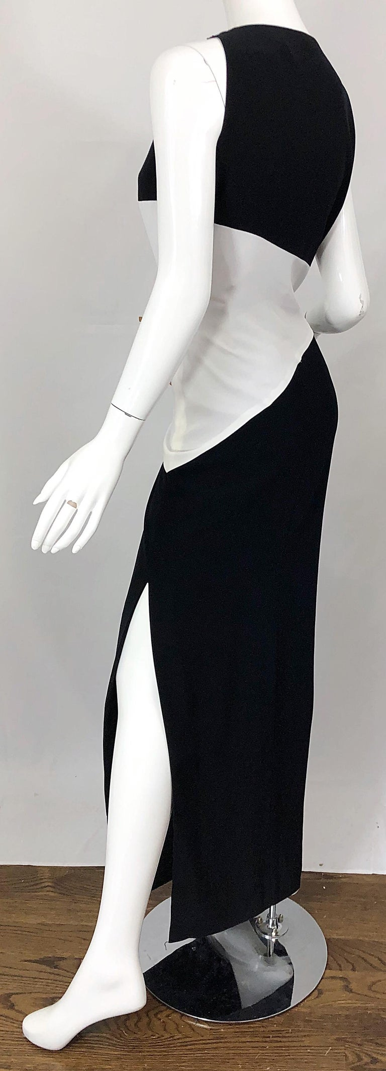 NWT Vintage Bob Mackie Size 8 Black and White Color Block Sleeveless Gown Dress For Sale 9