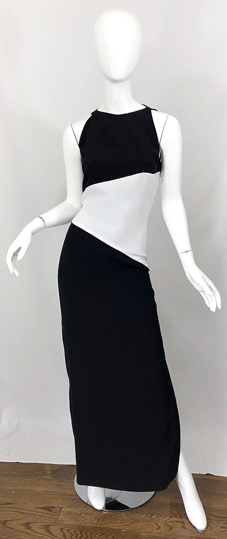 NWT Vintage Bob Mackie Size 8 Black and White Color Block Sleeveless Gown Dress For Sale 10