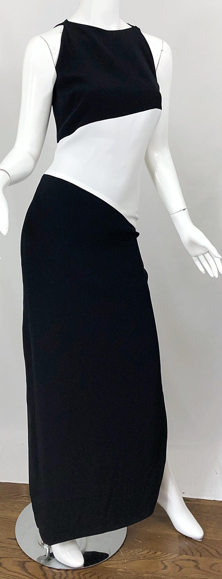 NWT Vintage Bob Mackie Size 8 Black and White Color Block Sleeveless Gown Dress For Sale 1