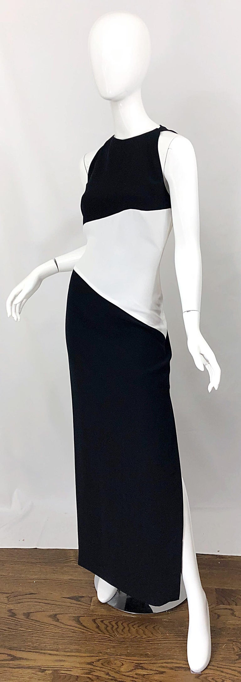NWT Vintage Bob Mackie Size 8 Black and White Color Block Sleeveless Gown Dress For Sale 3