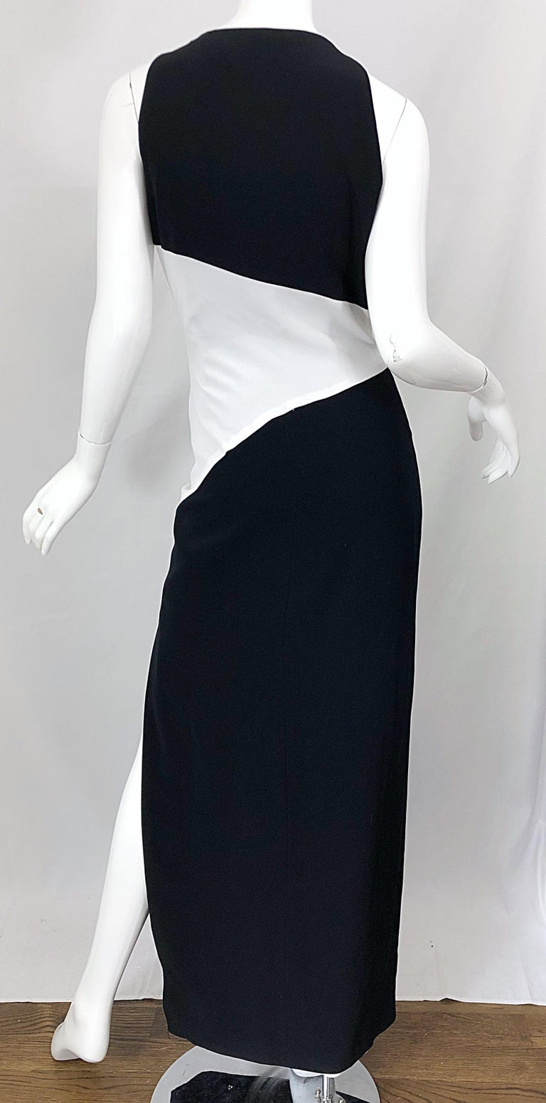 NWT Vintage Bob Mackie Size 8 Black and White Color Block Sleeveless Gown Dress For Sale 4