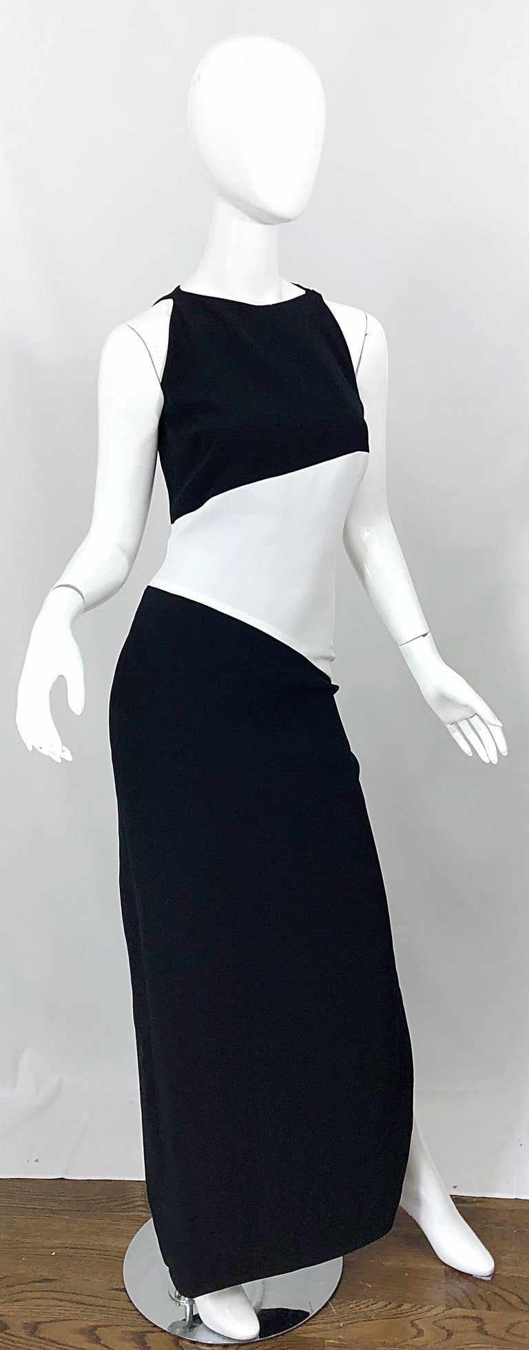 NWT Vintage Bob Mackie Size 8 Black and White Color Block Sleeveless Gown Dress For Sale 5