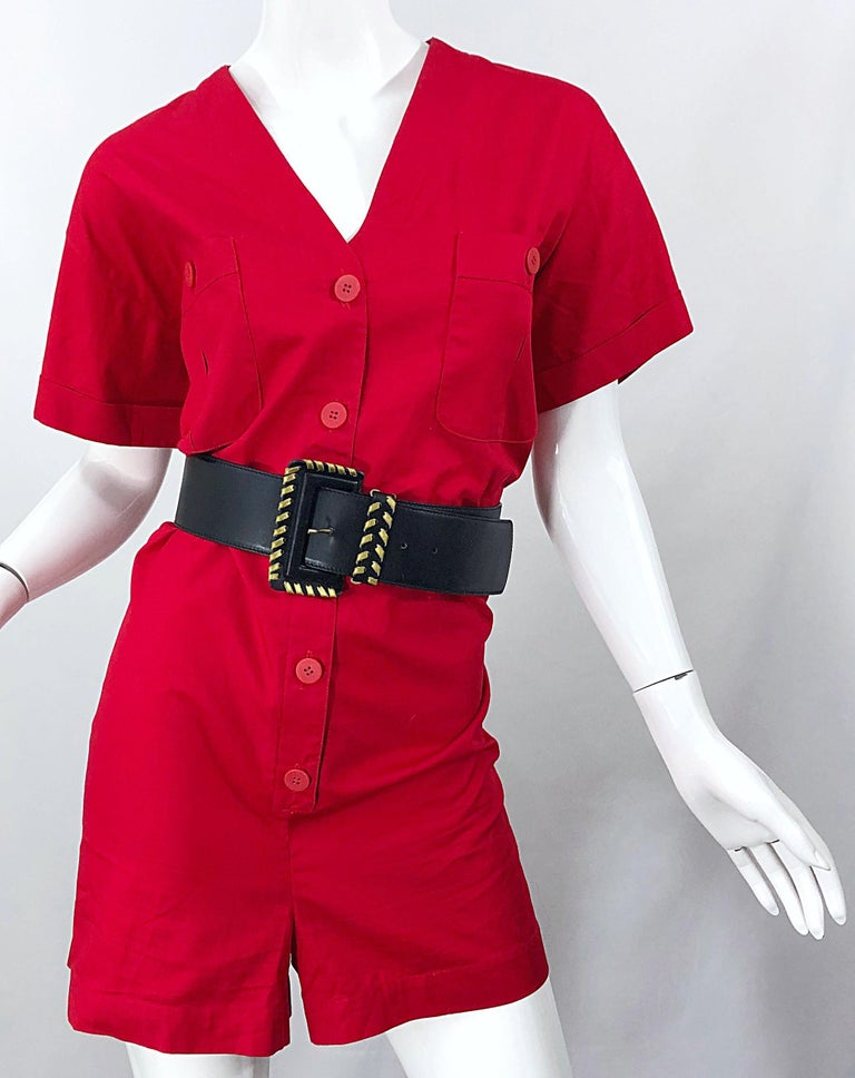 NWT Vintage Christian Dior Romper Size 14 Lipstick Red Cotton One Piece Jumpsuit For Sale 6