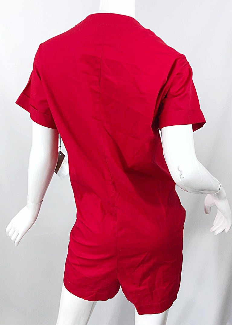 NWT Vintage Christian Dior Romper Size 14 Lipstick Red Cotton One Piece Jumpsuit For Sale 7