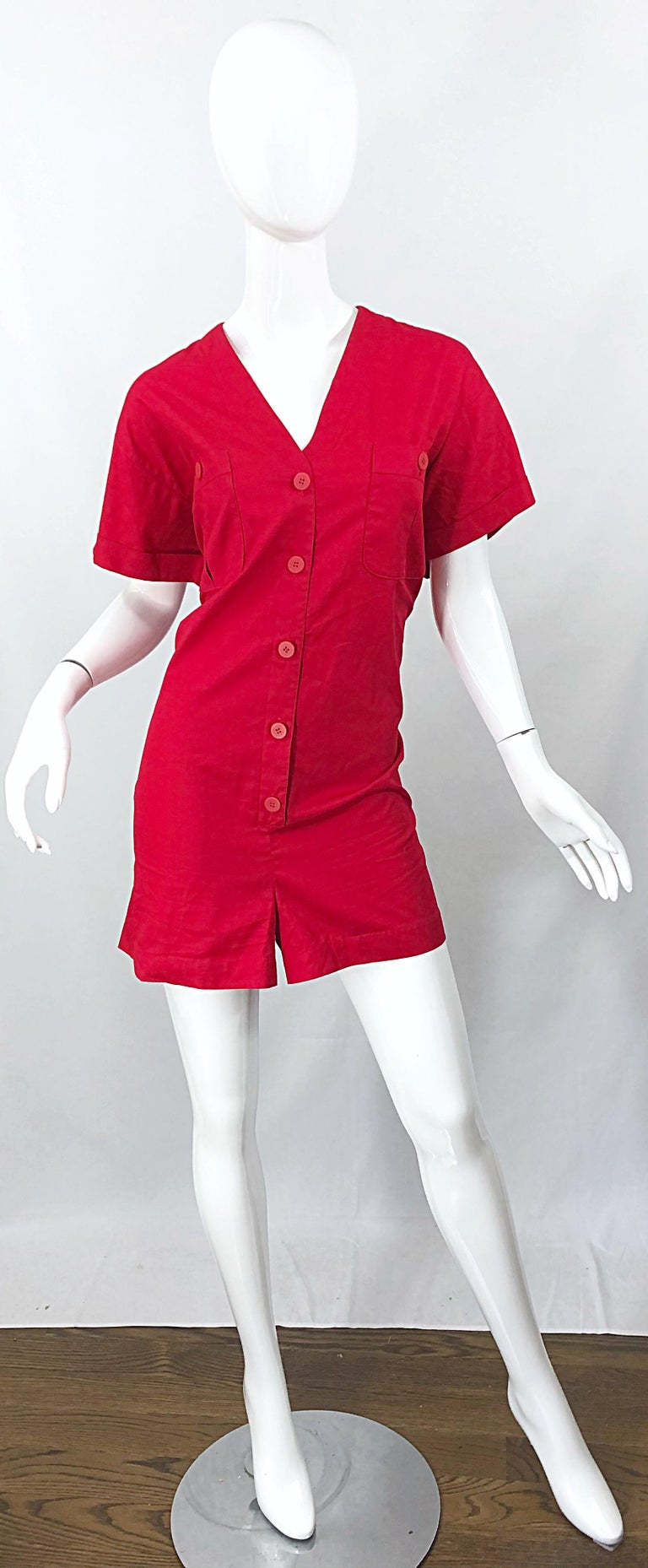 NWT Vintage Christian Dior Romper Size 14 Lipstick Red Cotton One Piece Jumpsuit For Sale 8