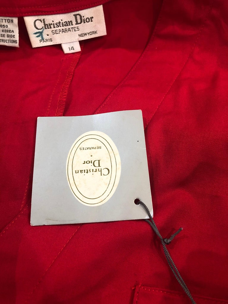 NWT Vintage Christian Dior Romper Size 14 Lipstick Red Cotton One Piece Jumpsuit For Sale 9