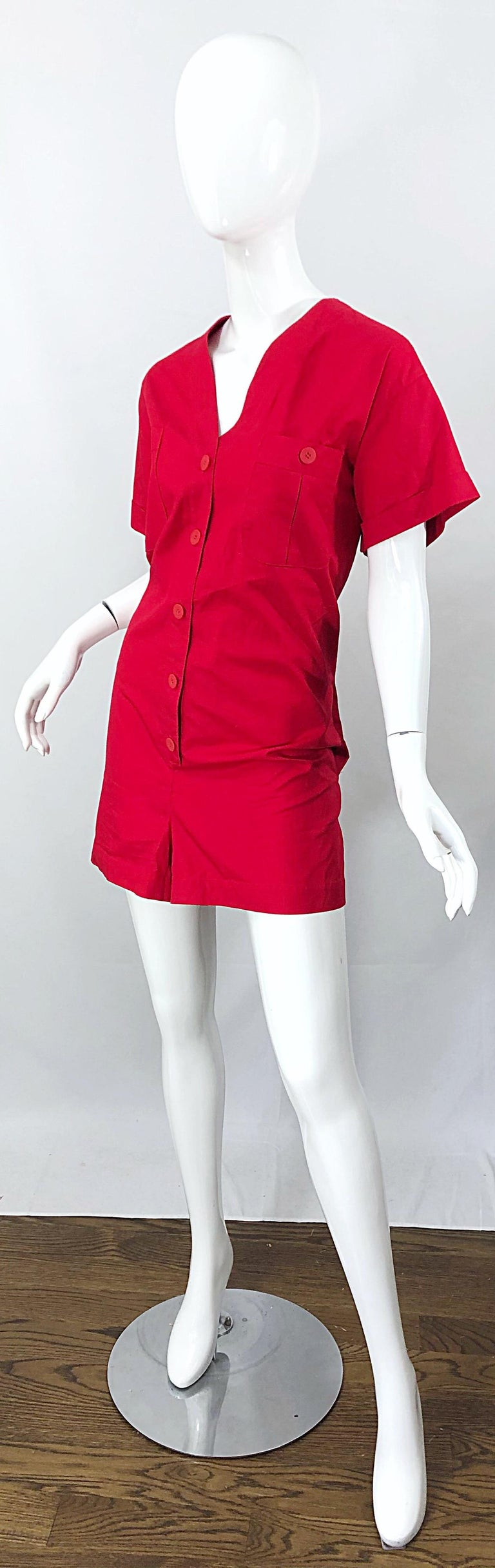 NWT Vintage Christian Dior Romper Size 14 Lipstick Red Cotton One Piece Jumpsuit In New Condition For Sale In Chicago, IL