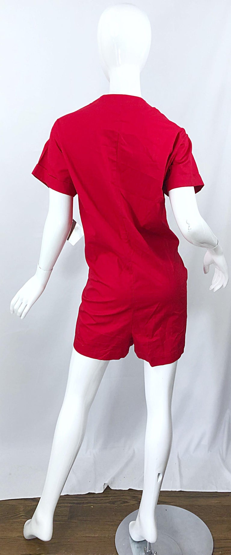 NWT Vintage Christian Dior Romper Size 14 Lipstick Red Cotton One Piece Jumpsuit For Sale 1