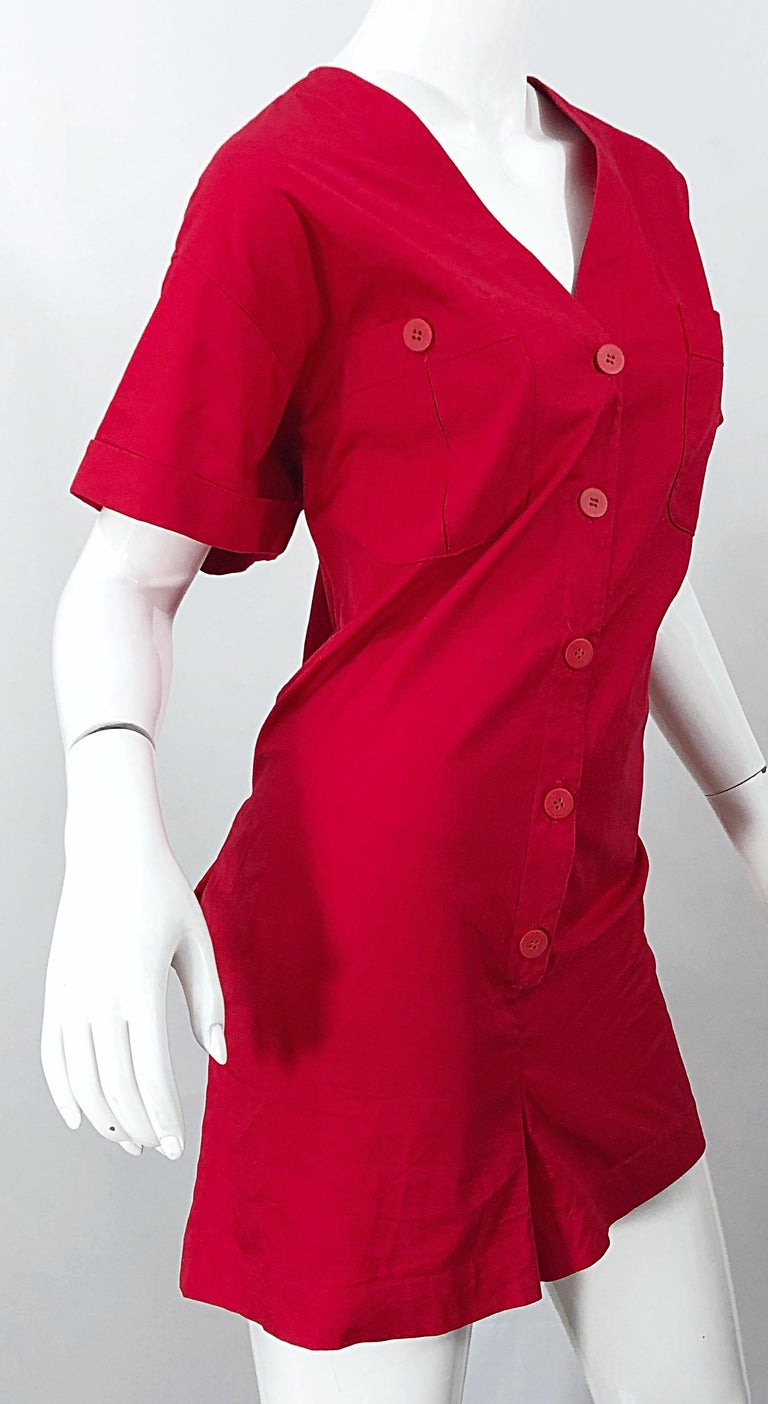 NWT Vintage Christian Dior Romper Size 14 Lipstick Red Cotton One Piece Jumpsuit For Sale 2