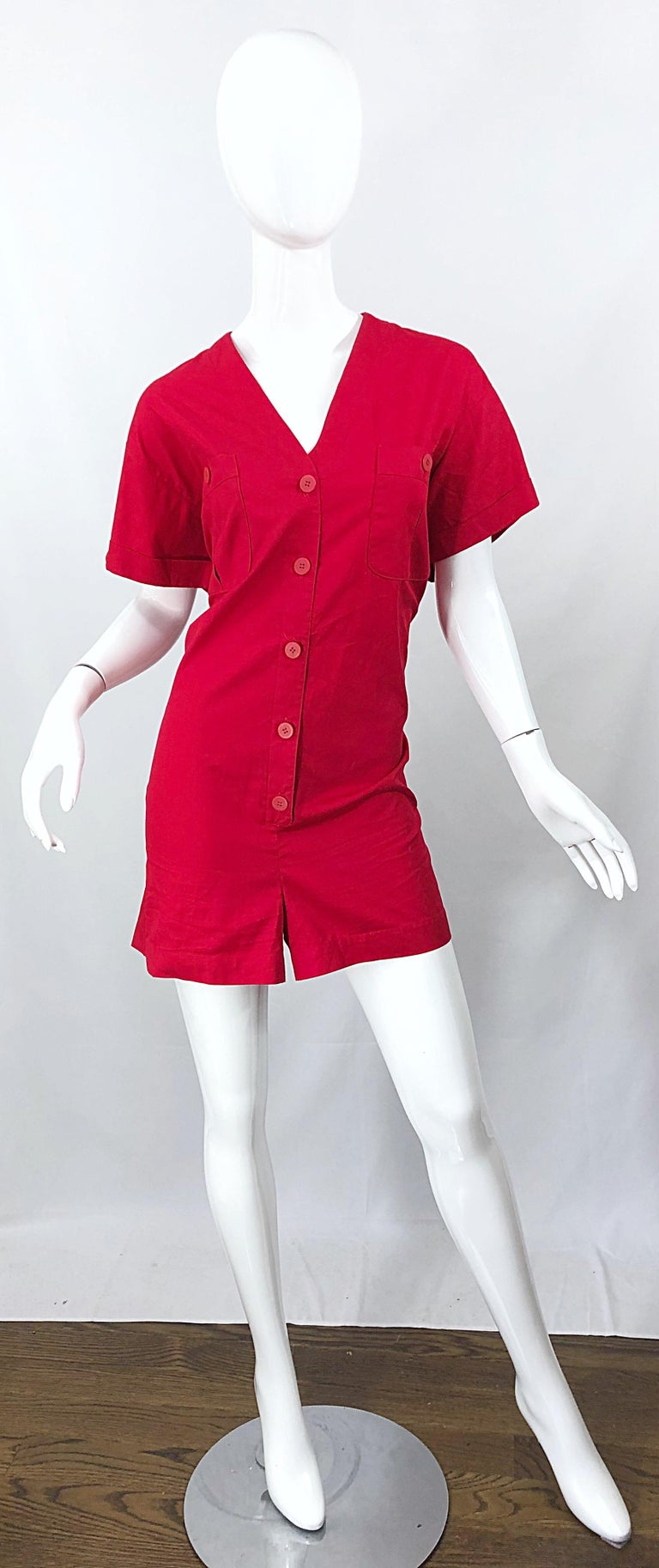 NWT Vintage Christian Dior Romper Size 14 Lipstick Red Cotton One Piece Jumpsuit For Sale 3