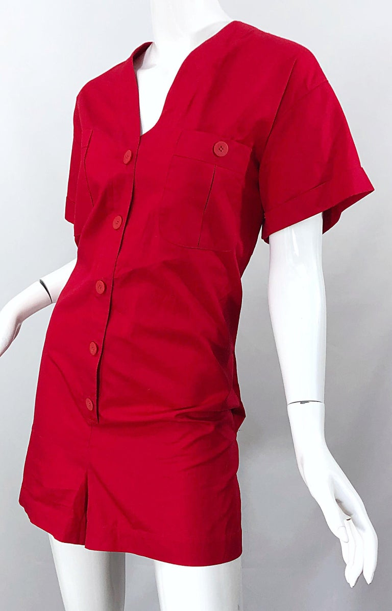 NWT Vintage Christian Dior Romper Size 14 Lipstick Red Cotton One Piece Jumpsuit For Sale 4