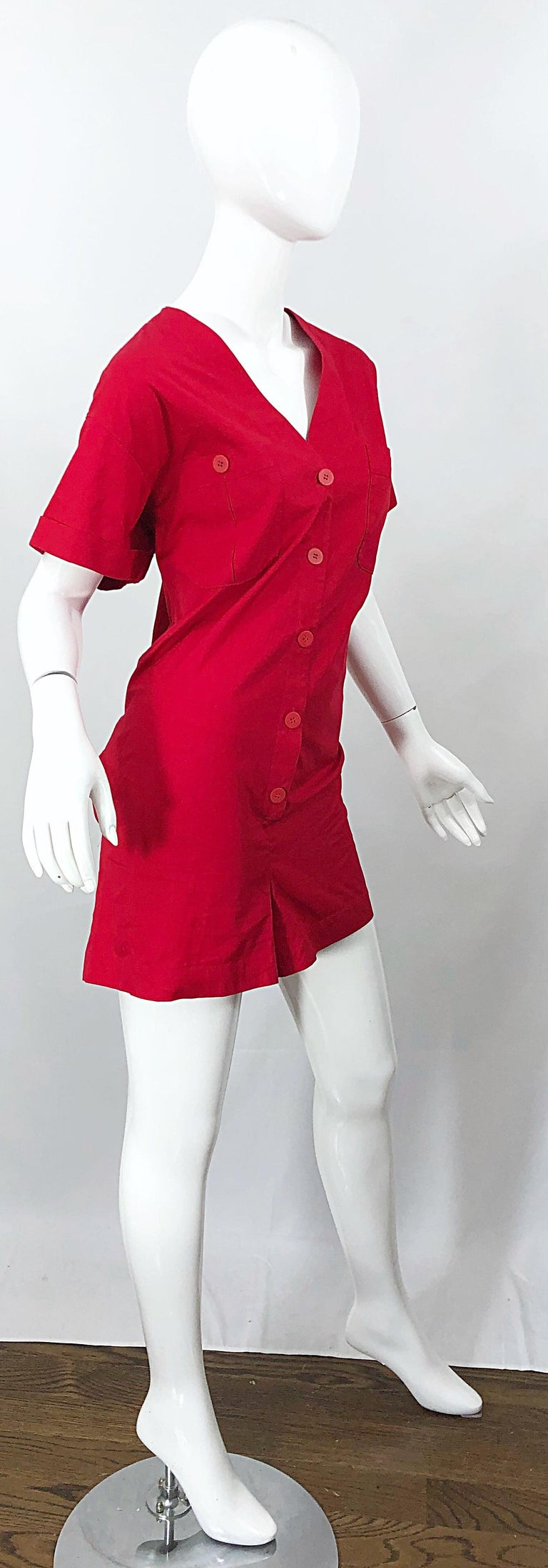 NWT Vintage Christian Dior Romper Size 14 Lipstick Red Cotton One Piece Jumpsuit For Sale 5