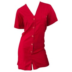 NWT Vintage Christian Dior Romper Size 14 Lipstick Red Cotton One Piece Jumpsuit