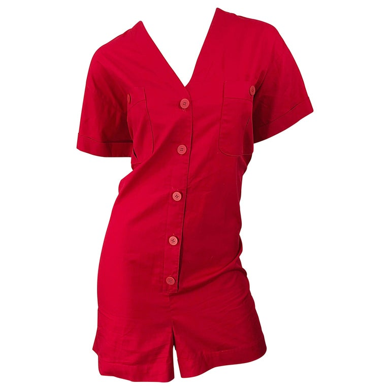 NWT Vintage Christian Dior Romper Size 14 Lipstick Red Cotton One Piece Jumpsuit For Sale