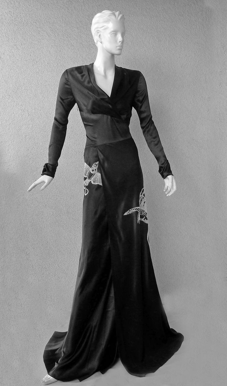 Black NWT Vionnet  Deco Inspired Embroidered Dress Gown For Sale