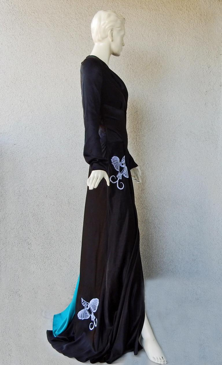 NWT Vionnet  Deco Inspired Embroidered Dress Gown For Sale 2