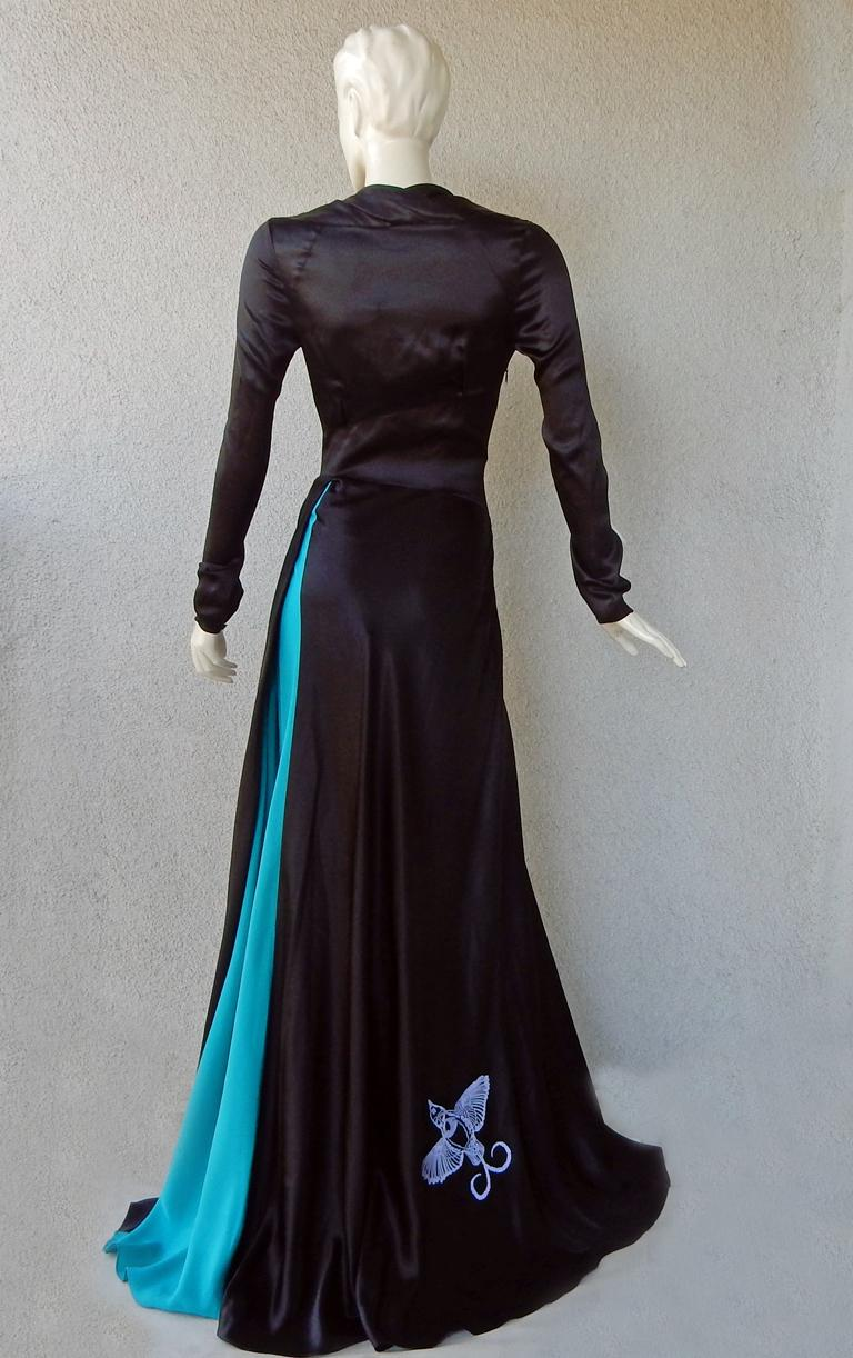 NWT Vionnet  Deco Inspired Embroidered Dress Gown For Sale 3