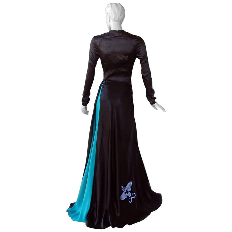 NWT Vionnet  Deco Inspired Embroidered Dress Gown For Sale