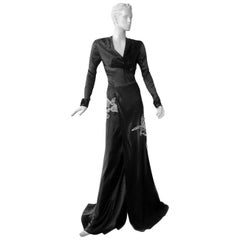 NWT Vionnet Deco Inspired Sultry Black Dress Gown