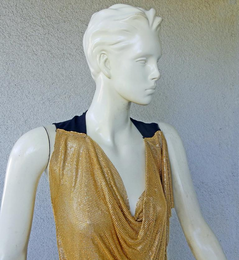NWT Vionnet Gold Asymmetric Chain Mail Mini Dress In New Condition For Sale In Los Angeles, CA