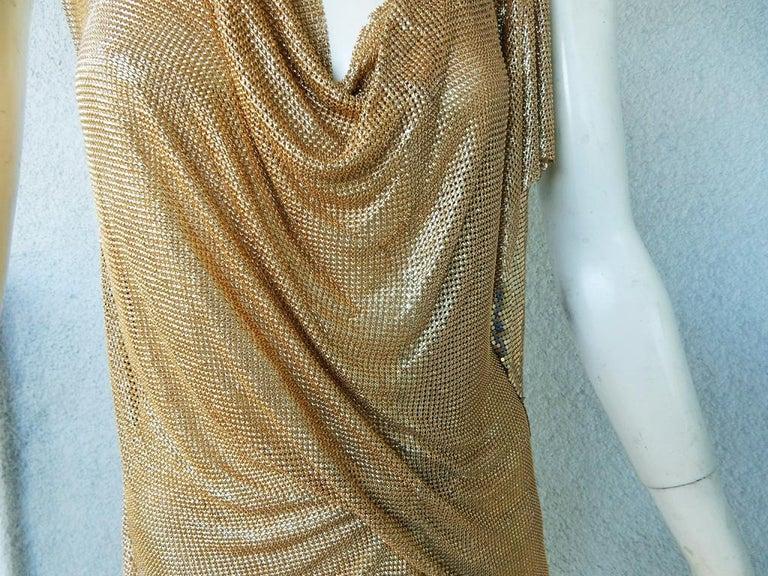 Women's NWT Vionnet Gold Asymmetric Chain Mail Mini Dress For Sale