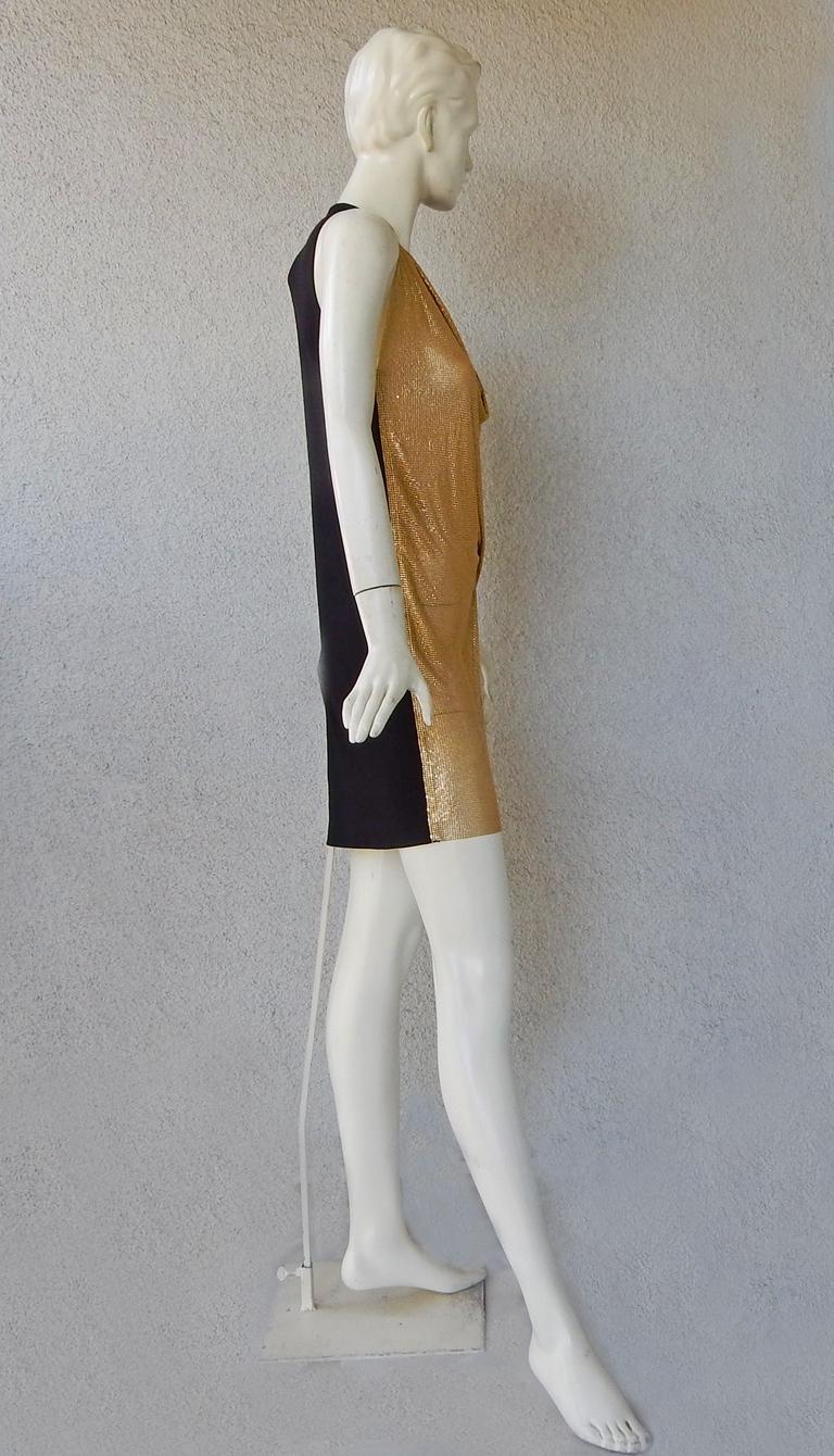 NWT Vionnet Gold Asymmetric Chain Mail Mini Dress For Sale 1