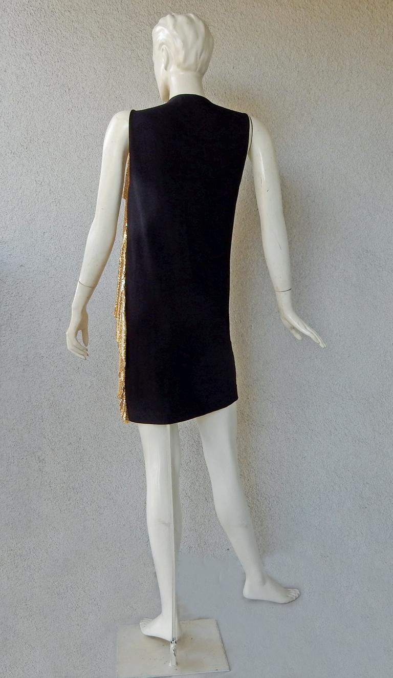 NWT Vionnet Gold Asymmetric Chain Mail Mini Dress For Sale 2