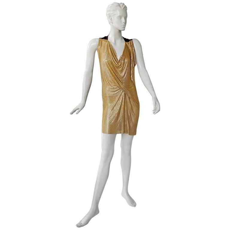 NWT Vionnet Gold Asymmetric Chain Mail Mini Dress For Sale