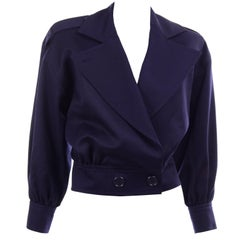 NWT YSL Vintage 1980s Navy Blue Jacket W/ Epaulettes Size 40 With Tag