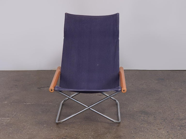 Mid-Century Modern NY Blue Folding Sling Chair by Takeshi Nii For Sale