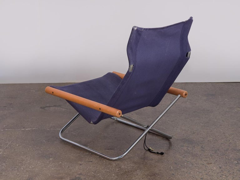 NY Blue Folding Sling Chair by Takeshi Nii In Good Condition For Sale In Brooklyn, NY