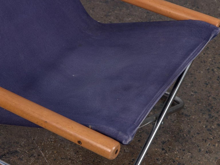 20th Century NY Blue Folding Sling Chair by Takeshi Nii For Sale