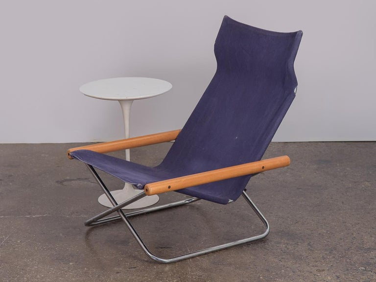 NY Blue Folding Sling Chair by Takeshi Nii For Sale 2