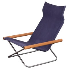 NY Blue Folding Sling Chair by Takeshi Nii