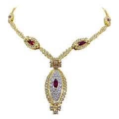 NYC 18 Karat Yellow Gold 11.84 Carat Diamond and 3.15 Carat, Ruby Necklace