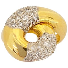 NYC 18 Karat Yellow Gold and Diamond .80 Carat Swirl Ring