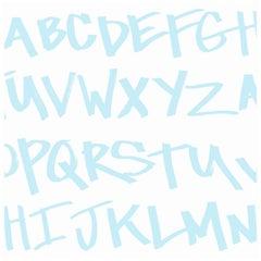 NYC Alphabet in Blaufarben auf Glatter Tapete