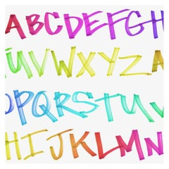NYC Alphabet in Rainbow Colorway on Smooth Wallpaper