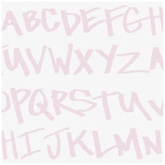NYC Alphabet in Rose Colorway on Smooth Wallpaper