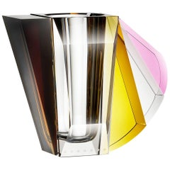 NYC Contemprary Vase, Hand-Sculpted Contemporary Crystal
