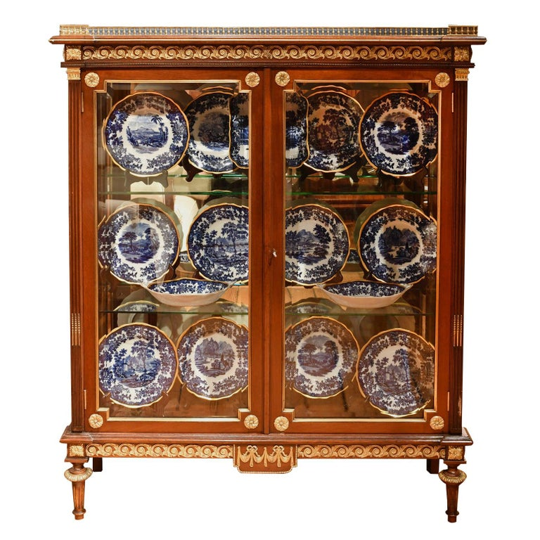 NYC Gilded Age Louis XVI Style Display Cabinet, Attributable to Leon Marcotte For Sale