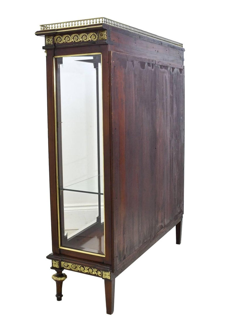 Brass NYC Gilded Age Louis XVI Style Display Cabinet, Attributable to Leon Marcotte For Sale